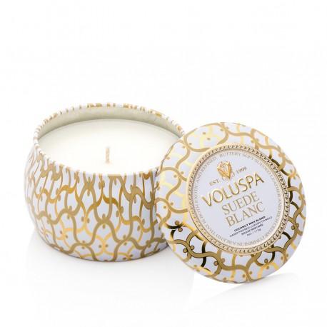 Voluspa - Mini-bougie parfumée Suède blanc